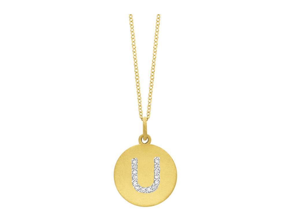 "KC DESIGNS - Diamond Disc Initial ""U"" Necklace"