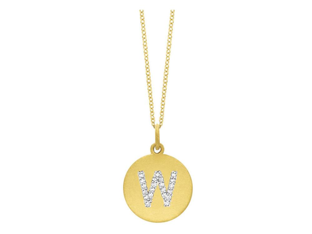"KC DESIGNS - Diamond Disc Initial ""W"" Necklace"