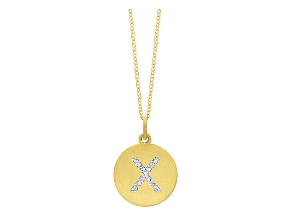 "KC DESIGNS - Diamond Disc Initial ""X"" Necklace"