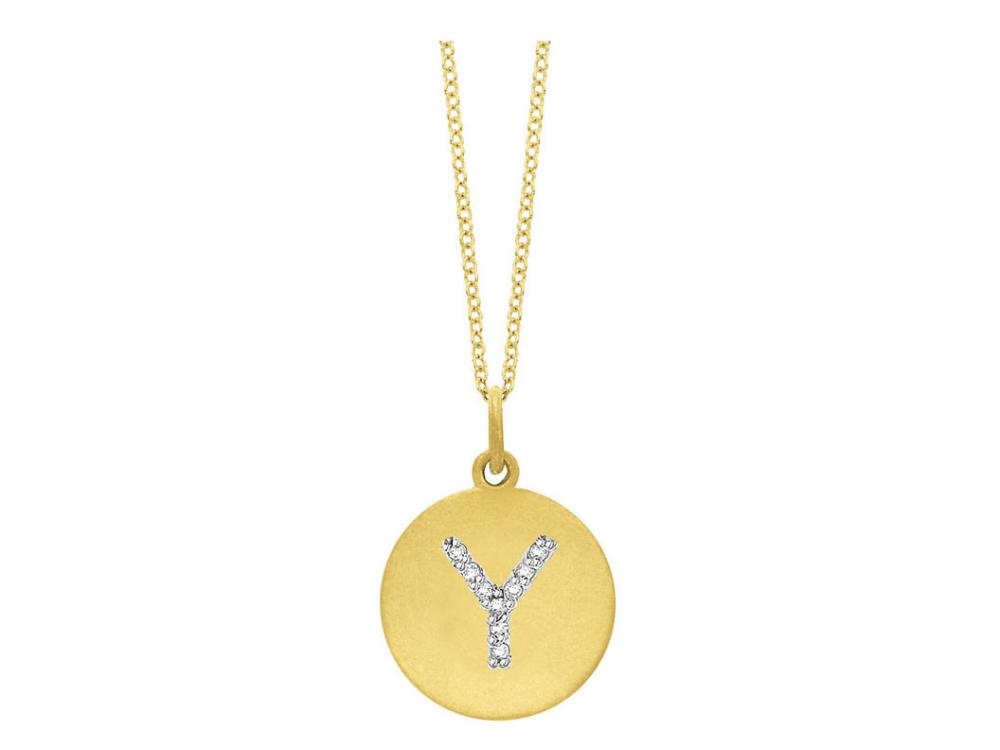"KC DESIGNS - Diamond Disc Initial ""Y"" Necklace"