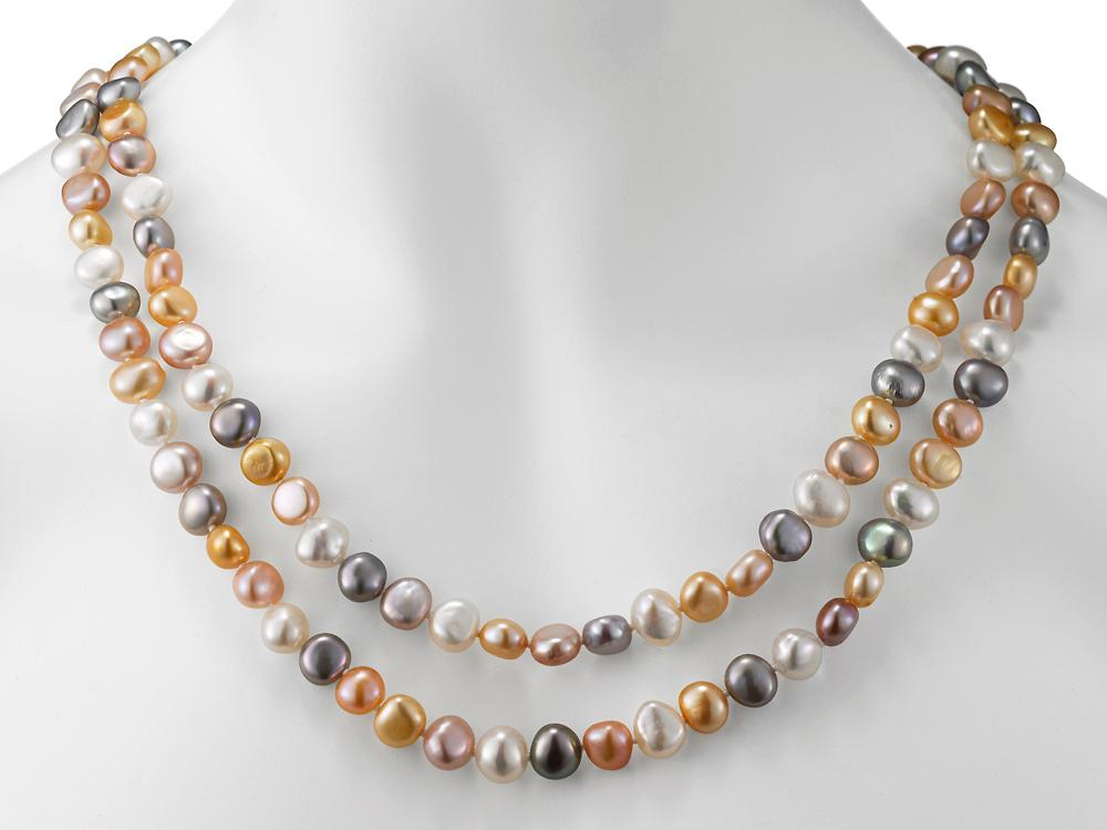 MASTOLONI - 8-9MM Multicolor Pastel Baroque Freshwater Pearl Strand 54 Inches
