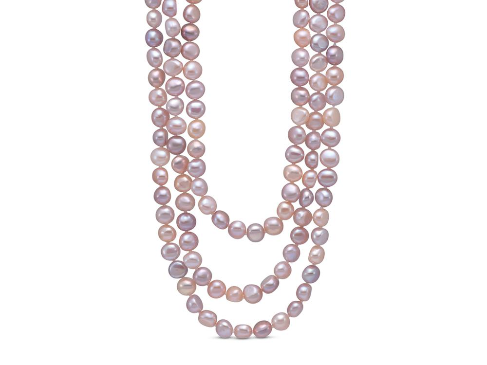 MASTOLONI - 8-9MM Multicolor Pink & White Baroque Freshwater Pearl Strand 100 Inches