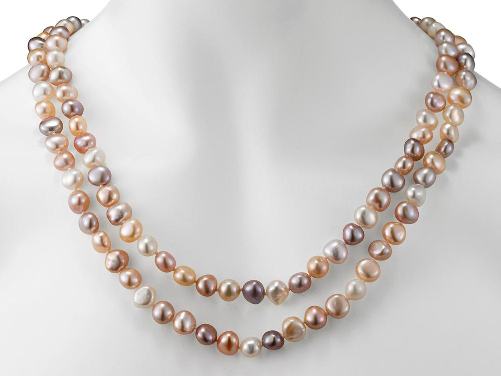 MASTOLONI - 8-9MM Multicolor Pink & White Baroque Freshwater Pearl Strand 54 Inches