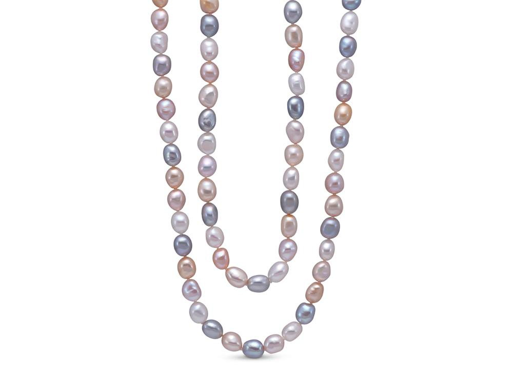 MASTOLONI - 8-9MM Multicolor Pastel Oval Freshwater Pearl Strand 54 Inches