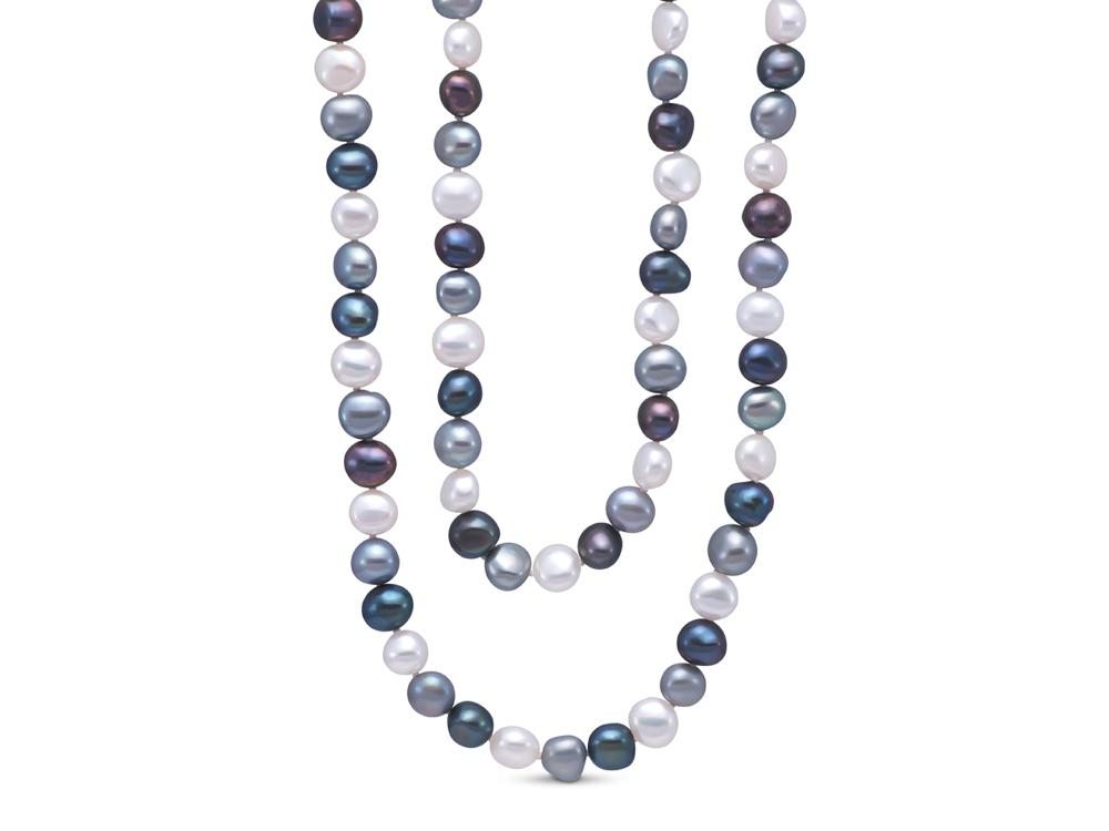 MASTOLONI - 9-10MM Multicolor Black & White Baroque Freshwater Pearl Strand 54 Inches