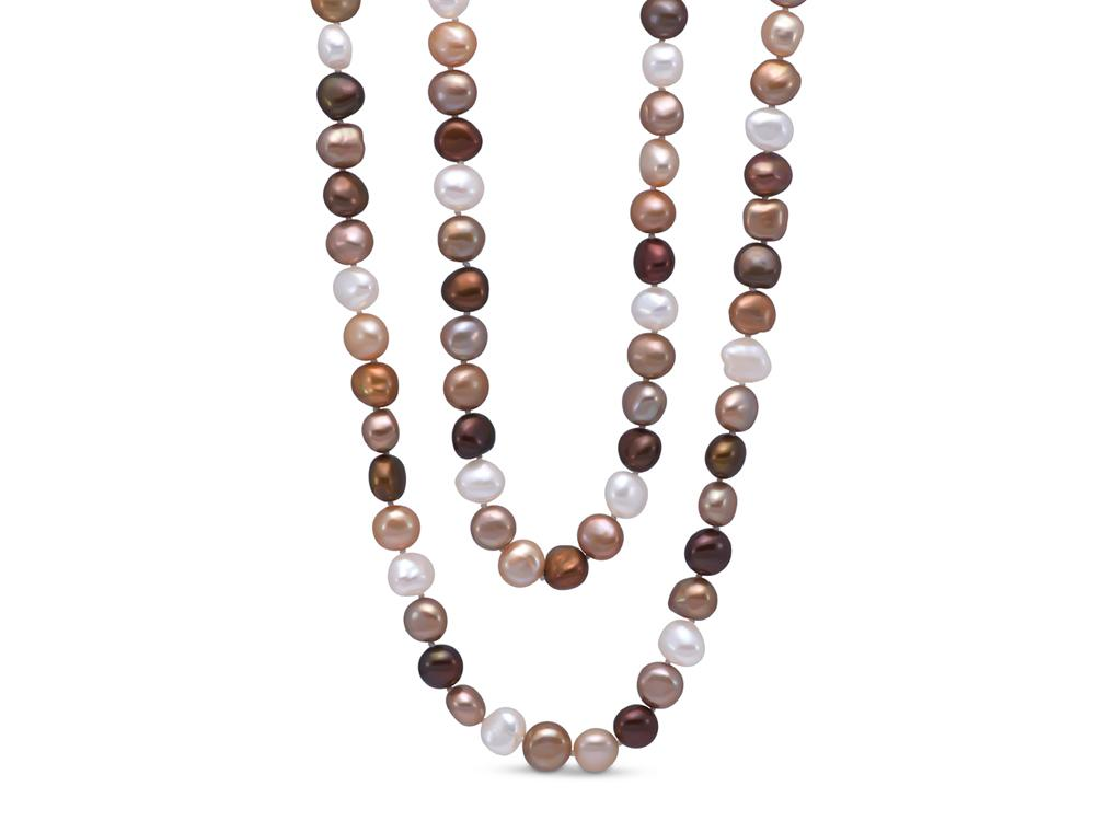 MASTOLONI - 9-10MM Multicolor Golden & White Baroque Freshwater Pearl Strand 54 Inches