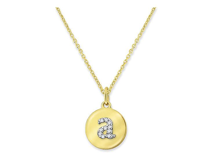 "KC DESIGNS - Diamond Mini Disc Initial ""A"" Necklace"