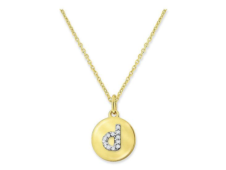 "KC DESIGNS - Diamond Mini Disc Initial ""D"" Necklace"