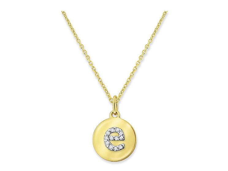 "KC DESIGNS - Diamond Mini Disc Initial ""E"" Necklace"
