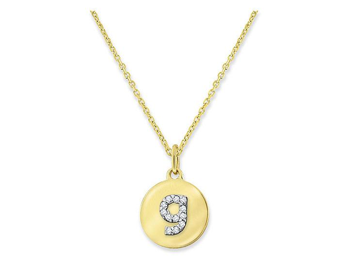 "KC DESIGNS - Diamond Mini Disc Initial ""G"" Necklace"