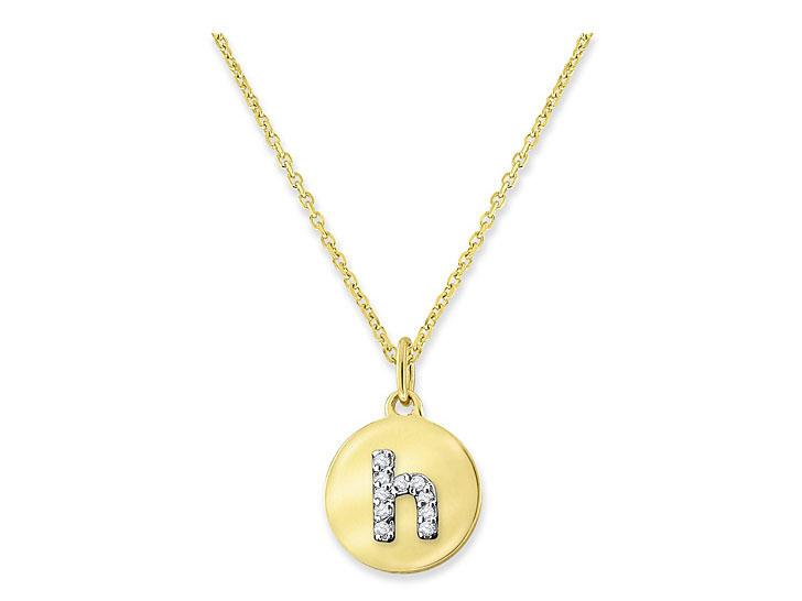 "KC DESIGNS - Diamond Mini Disc Initial ""H"" Necklace"