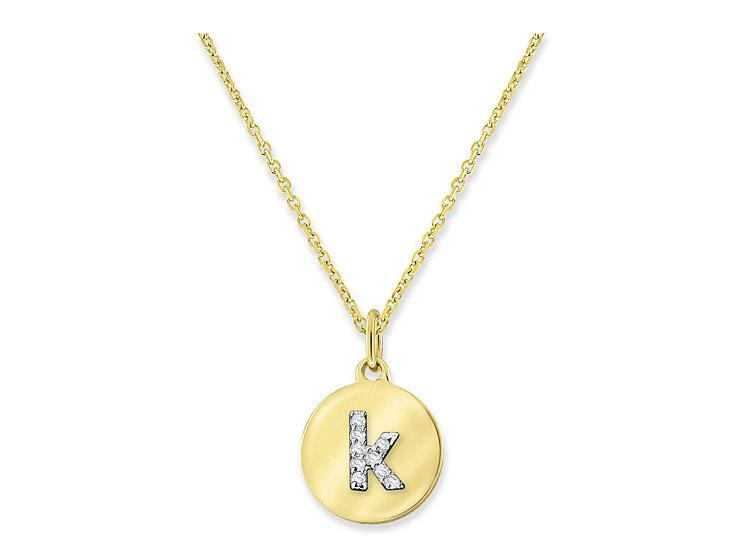 "KC DESIGNS - Diamond Mini Disc Initial ""K"" Necklace"