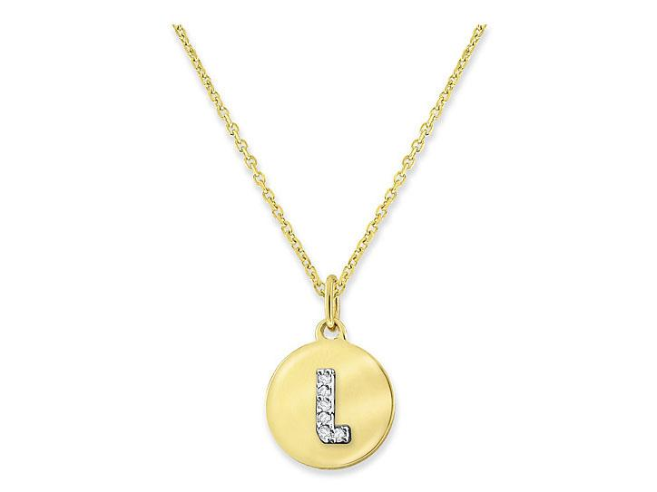 "KC DESIGNS - Diamond Mini Disc Initial ""L"" Necklace"