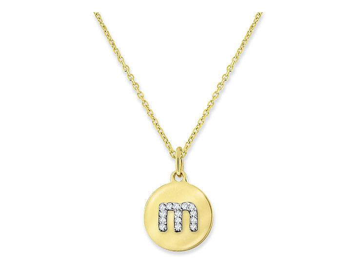 "KC DESIGNS - Diamond Mini Disc Initial ""M"" Necklace"