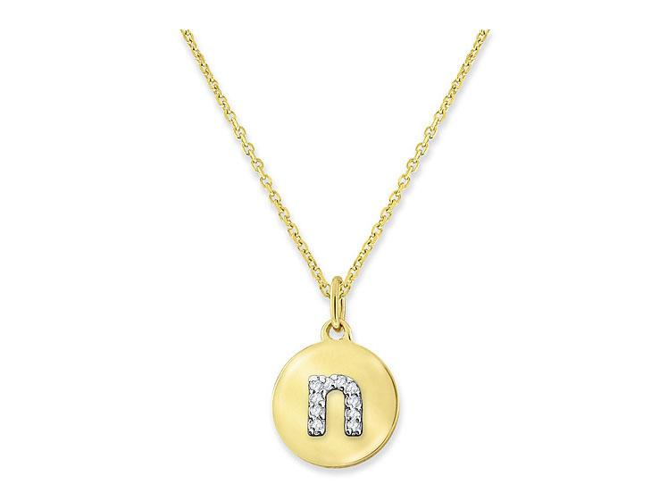 "KC DESIGNS - Diamond Mini Disc Initial ""N"" Necklace"
