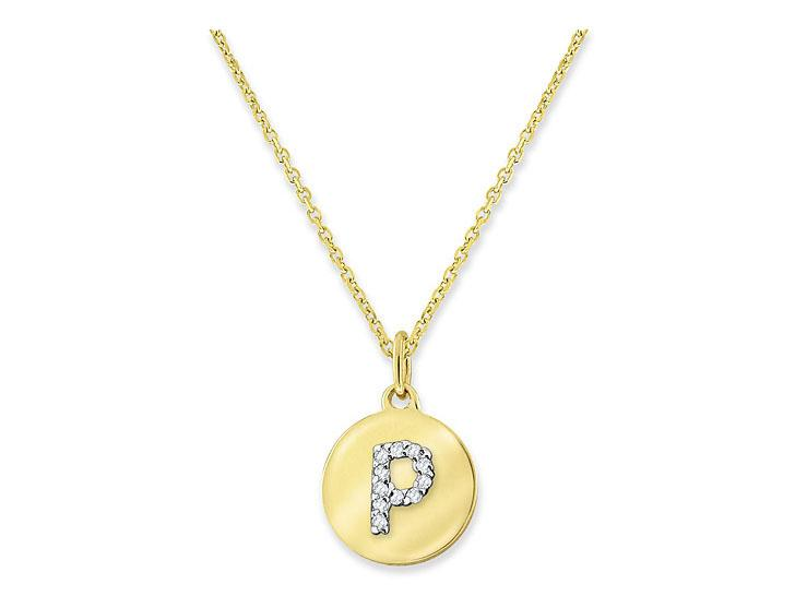 "KC DESIGNS - Diamond Mini Disc Initial ""P"" Necklace"