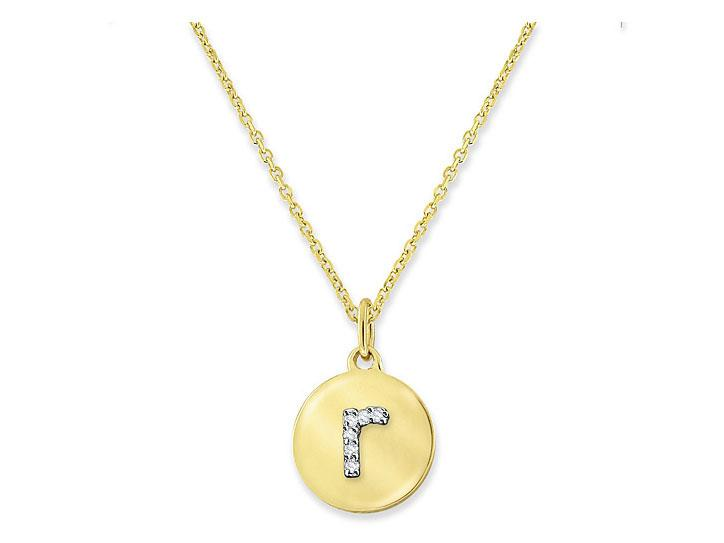 "KC DESIGNS - Diamond Mini Disc Initial ""R"" Necklace"