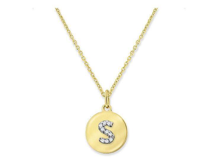 "KC DESIGNS - Diamond Mini Disc Initial ""S"" Necklace"