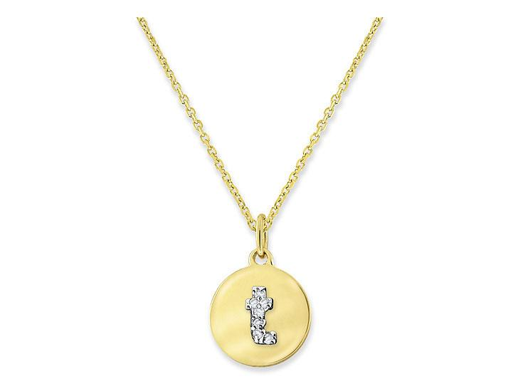 "KC DESIGNS - Diamond Mini Disc Initial ""T"" Necklace"