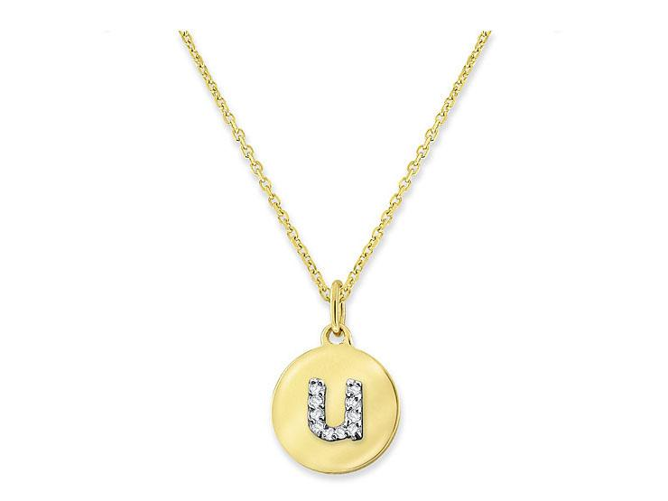 "KC DESIGNS - Diamond Mini Disc Initial ""U"" Necklace"