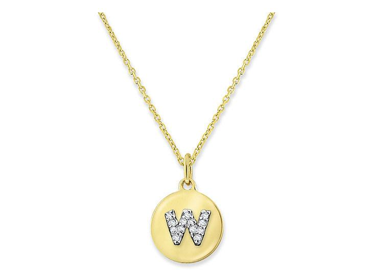 "KC DESIGNS - Diamond Mini Disc Initial ""W"" Necklace"