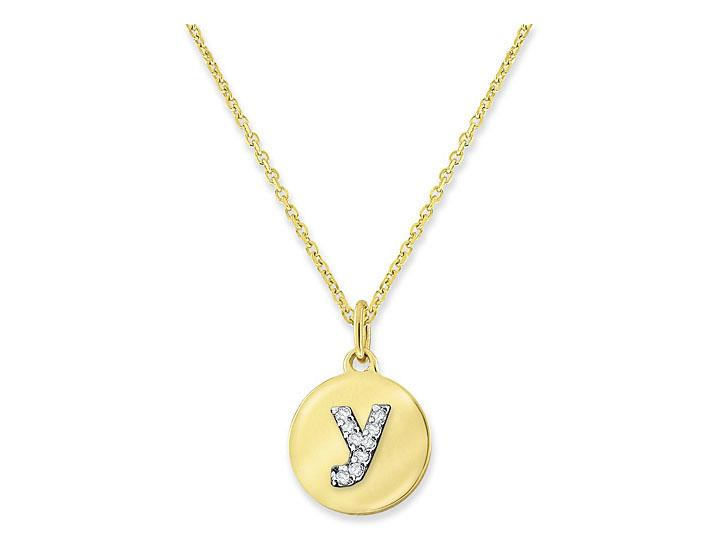 "KC DESIGNS - Diamond Mini Disc Initial ""Y"" Necklace"