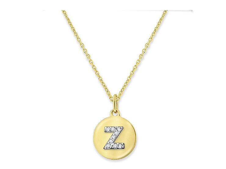 "KC DESIGNS - Diamond Mini Disc Initial ""Z"" Necklace"
