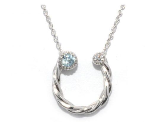 TIMELESS DESIGNS - Diamond Horseshoe Pendant with Aquamarine