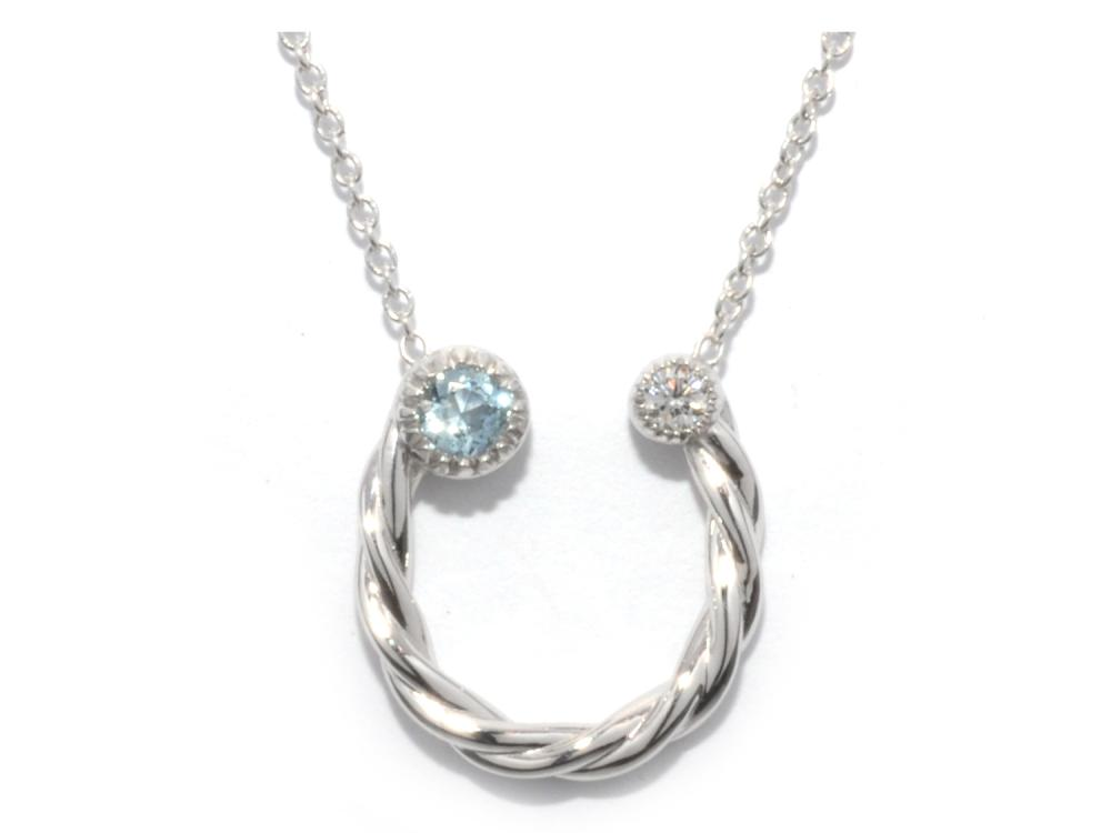 TIMELESS DESIGNS - Diamond Horseshoe Pendant with Aquamarine