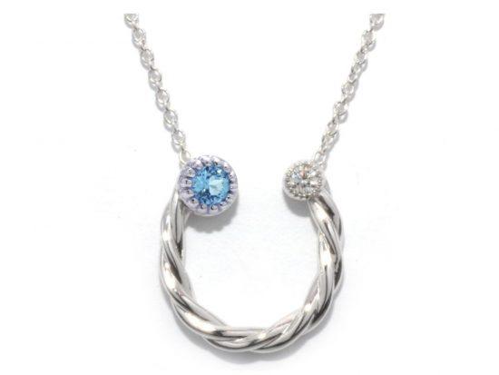 TIMELESS DESIGNS - Diamond Horseshoe Pendant with Topaz
