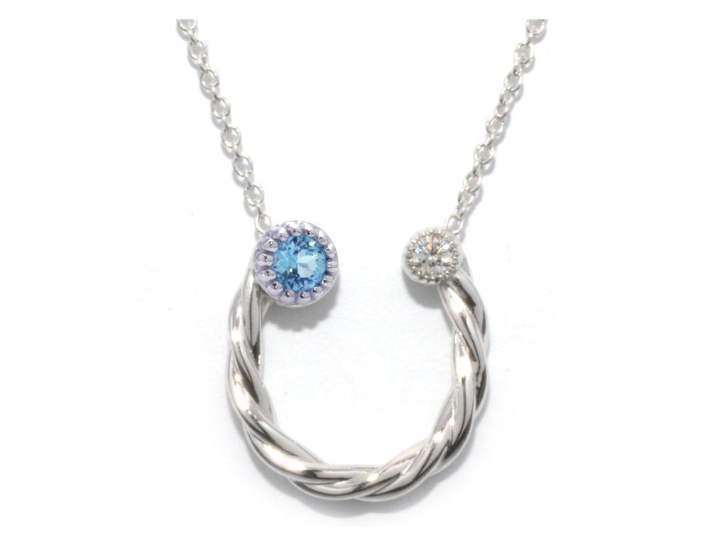 TIMELESS DESIGNS - Diamond Horseshoe Pendant with Topaz