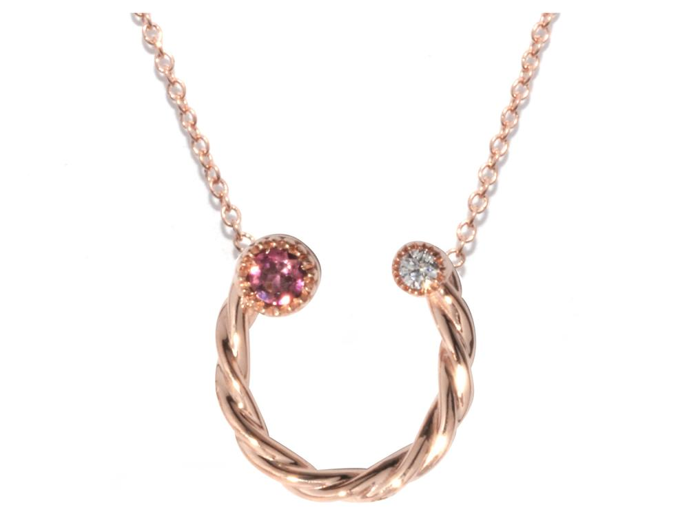 TIMELESS DESIGNS - Diamond Horseshoe Pendant with Tourmaline