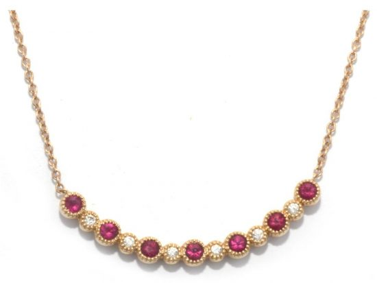 TIMELESS DESIGNS - Diamond Bar Smile Pendant with Ruby
