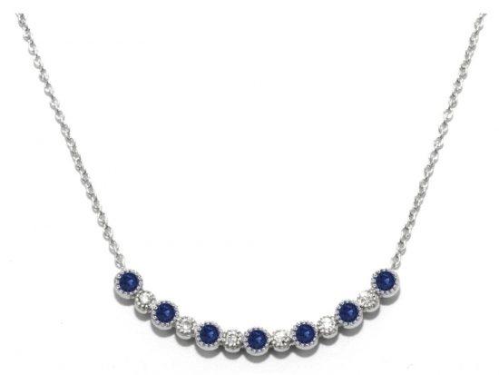 TIMELESS DESIGNS - Diamond Bar Smile Pendant with Sapphire