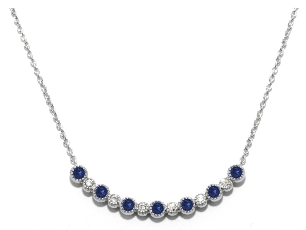 TIMELESS DESIGNS - Diamond Bar Smile Pendant with Sapphire