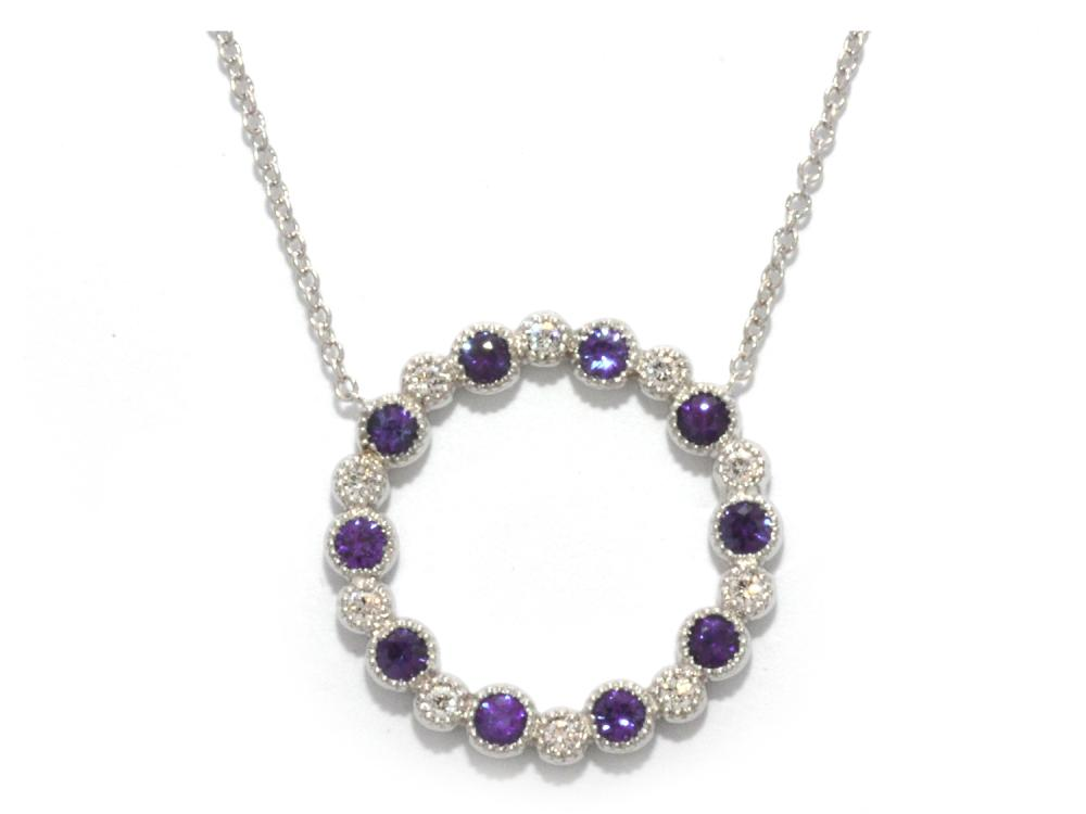 TIMELESS DESIGNS - Diamond Circle Pendant with Amethyst