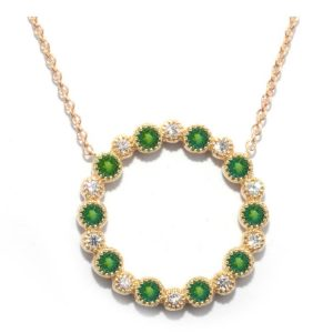 TIMELESS DESIGNS - Diamond Circle Pendant with Emerald