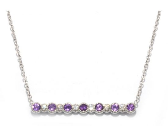 TIMELESS DESIGNS - Diamond Smile Pendant with Amethyst