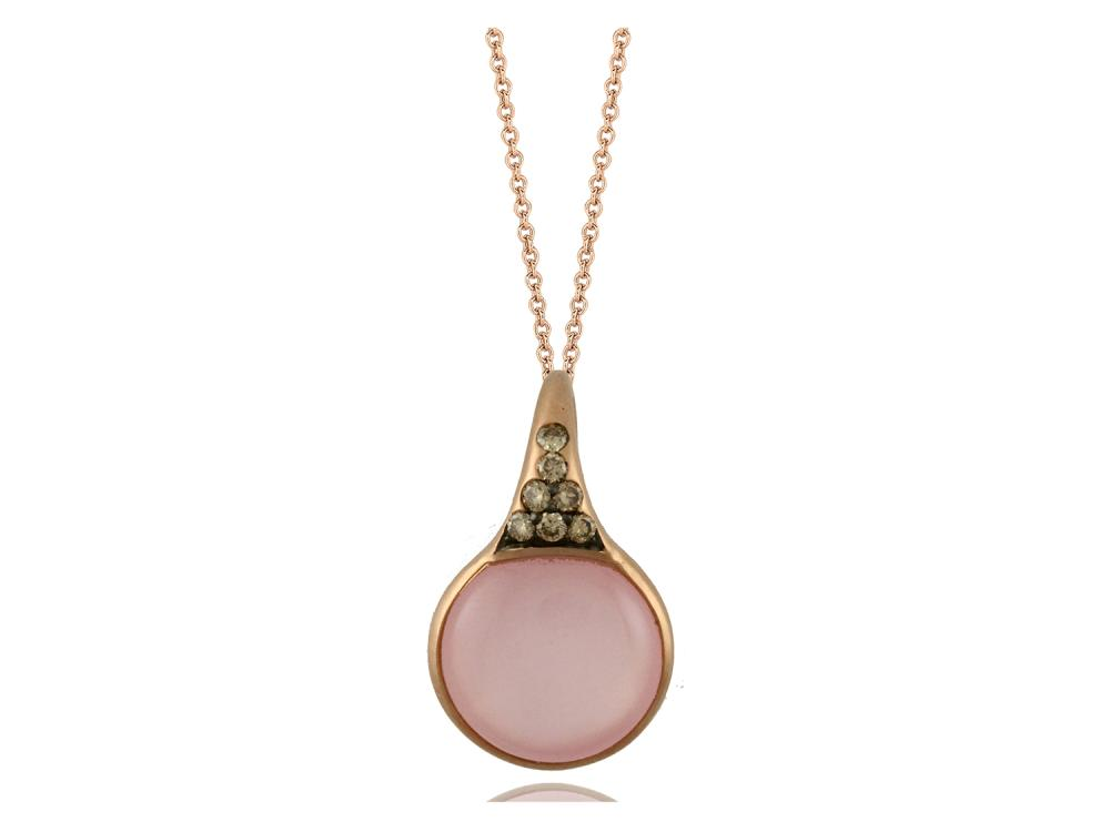 DOVES - 18K Rose Gold Brown Diamond Pendant