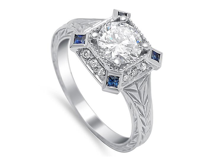 TIMELESS DESIGNS - Engagement Ring Mounting with Halo and Blue Sapphire