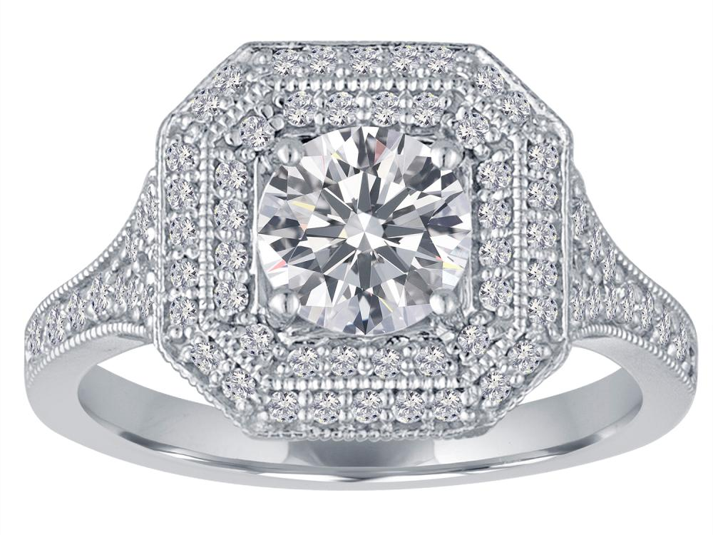 TIMELESS DESIGNS - Engagement Ring Mounting with Double Halo