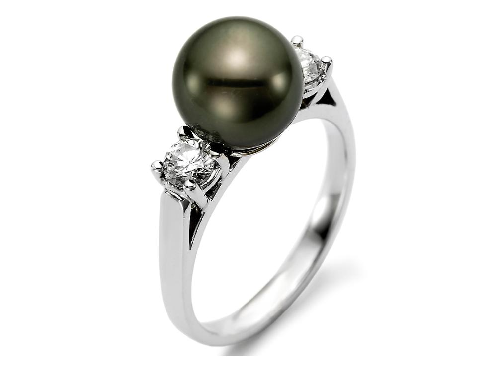 MASTOLONI - 18K White Gold 9-9.5MM Black Round Tahitian Pearl Ring with 2 Diamonds 0.40 TCW