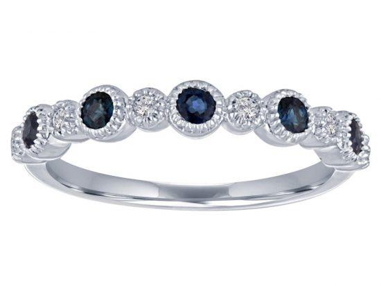 TIMELESS DESIGNS - Diamond Wedding Band with Blue Sapphire