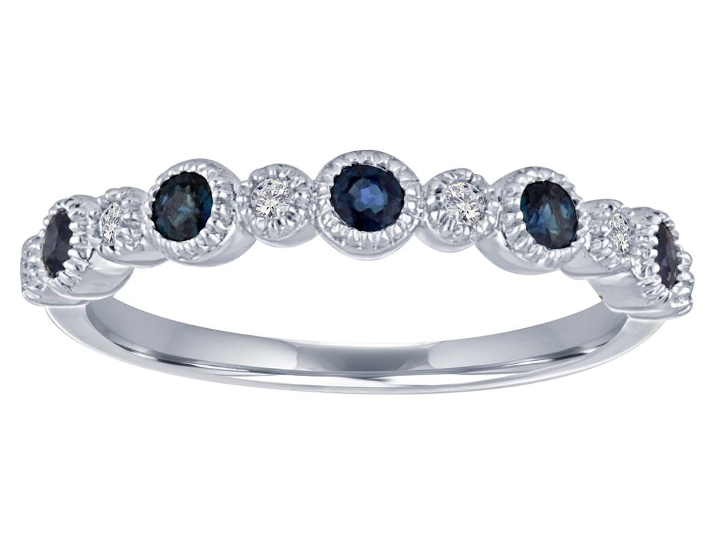 TIMELESS DESIGNS - Diamond Wedding Band with Blue Sapphire