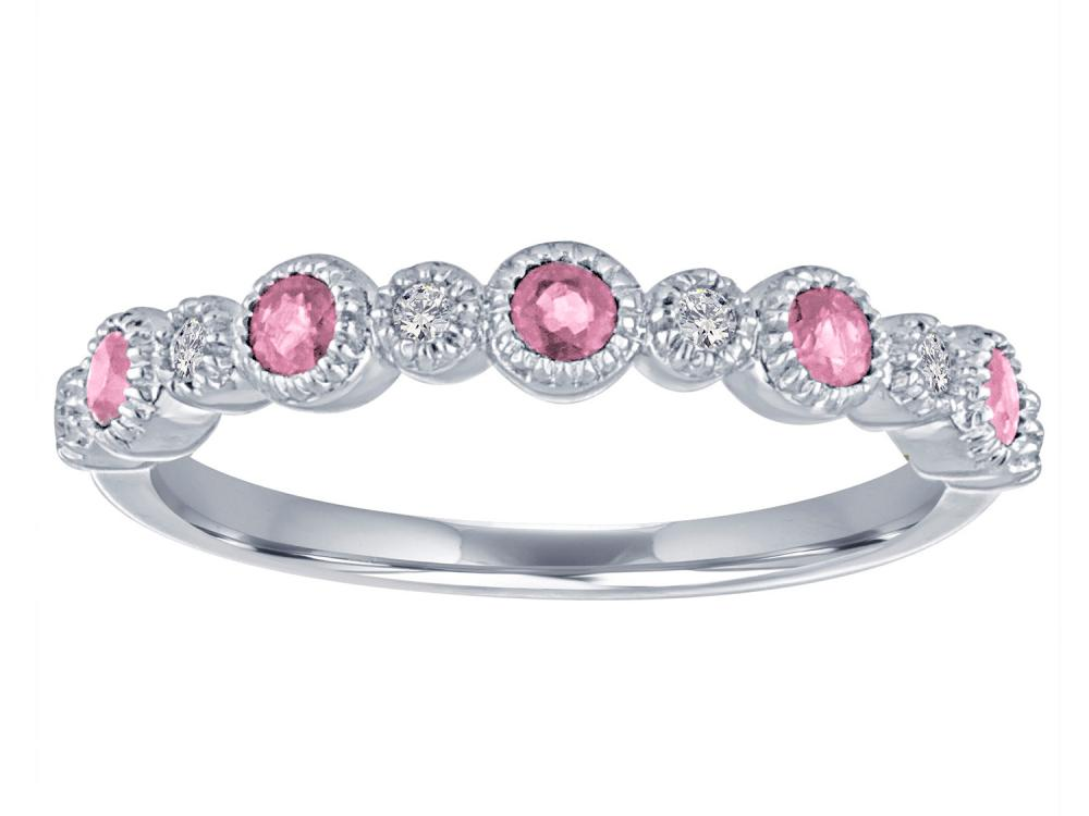 TIMELESS DESIGNS - Diamond Wedding Band with Tourmaline