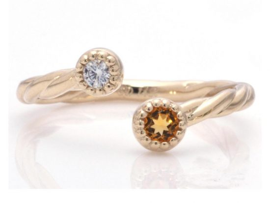 TIMELESS DESIGNS - Diamond Band with Citrine