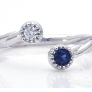 TIMELESS DESIGNS - Diamond Band with Sapphire
