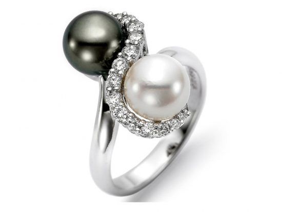 MASTOLONI - 18K White Gold 7.5-9MM Multicolor Black & White Round Tahitian Pearl Ring with 18 Diamonds 0.40 TCW