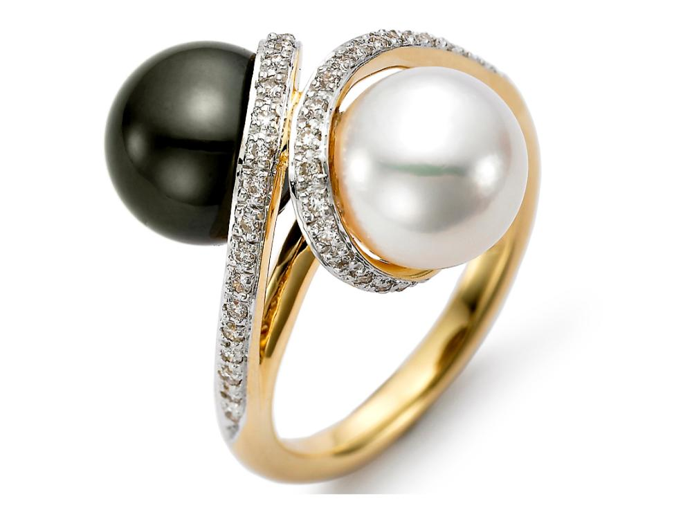 MASTOLONI - 18K Yellow Gold 9-9.5MM Multicolor Black & White Round Tahitian Pearl Ring with 40 Diamonds 0.22 TCW