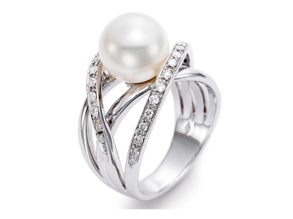 MASTOLONI - 18K White Gold 9.5-10MM White Round Cultured Pearl Ring with 28 Diamonds 0.33 TCW